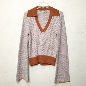 Free People Boho Sweater Bell Sleeves Size Large